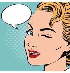 Pop art design of woman cartoon vector image