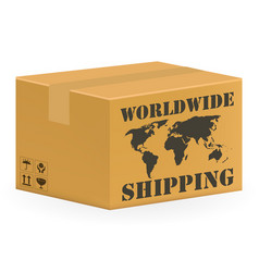 real corrugated carton box with worldwide shipping vector image