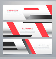 Red business horizontal banners set with vector