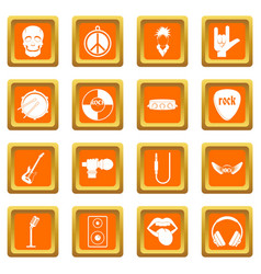Rock music icons set orange vector