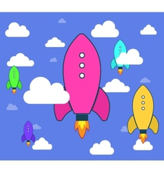 Rockets and white clouds icon in flat style vector image