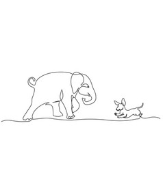 running baelephant playing with small dog vector image