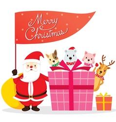 Santa Claus Animals And Gift Box vector image