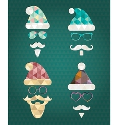 Santa Claus Silhouette Icons with Triangle vector