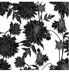 seamless pattern black white line dahlia flower vector image