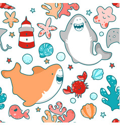 seamless pattern smiling sharks greet kawai emoji vector image