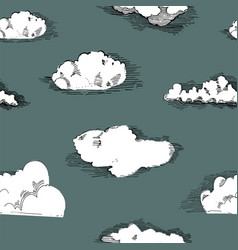 seamless pattern with cloudshand drawn vintage vector image