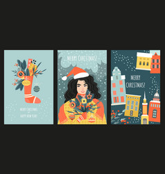 set cards or banners for christmas vector image