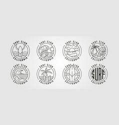 set line art california surf club icon logo vector image