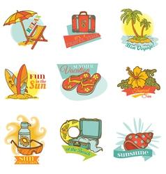 set vintage summer labels vector image