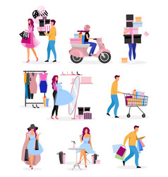 Shopping pastime flat characters set male female vector