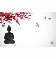 Silhouette buddha sitting under sakura vector