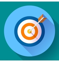Target marketing icon with arrow symbol flat vector