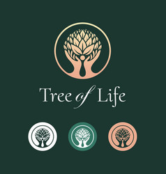 Tree life logo design vector