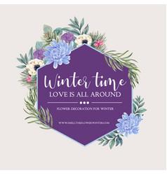 Winter bloom wreath design with peony anemone vector