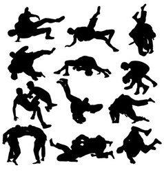 Wrestling Sport Activity Silhouettes vector