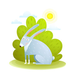 cute kids rabbit in forest vector image vector image