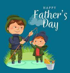 father and son water fishing holding rod and vector image