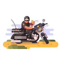 police officer with donut and coffee on motorcycle vector image vector image