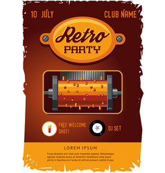 retro party poster template with vintage clockwork vector image