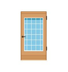 wooden entrance door with glass closed elegant vector image vector image