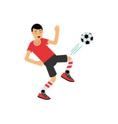active teen boy kicking a soccer ball boy doing vector image