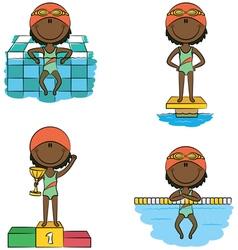 African-American swimmer girls vector image vector image