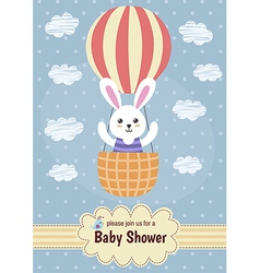 Baby shower card with a cute rabbit flying on ball vector image