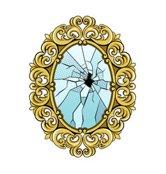 broken mirror pop art vector image