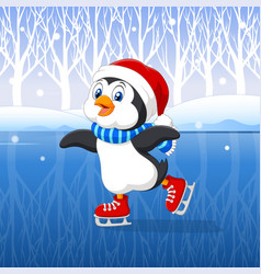 Cute cartoon penguin doing ice skating with winter vector image