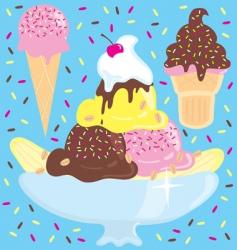 ice cream sundae party vector image vector image