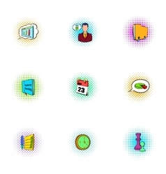 Management icons set pop-art style vector image vector image