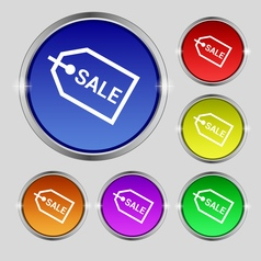 Sale icon sign Round symbol on bright colourful vector image