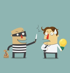 Bandit robbing the idea of a businessman vector image vector image