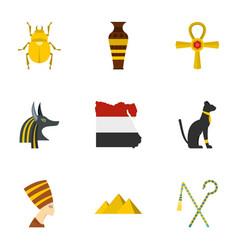egyptian pyramids icons set cartoon style vector image vector image
