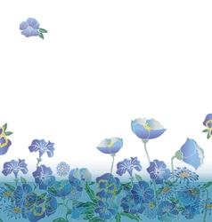 floral background with cute blue flowers vector image vector image
