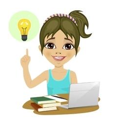 girl doing her homework with laptop having idea vector image vector image