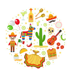 cinco de mayo celebration in mexico icons set in vector image