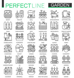 gardening and flower outline concept symbols vector image vector image