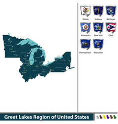 Great lakes region of united states vector