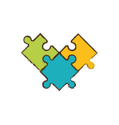 puzzle pieces abstract image vector image