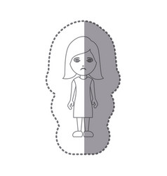 sticker silhouette caricature sad woman with vector image