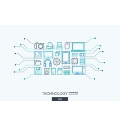 Technology integrated thin line symbols vector image vector image