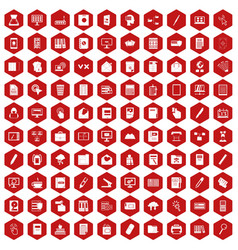 100 folder icons hexagon red vector