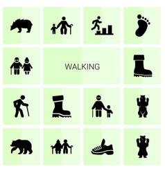 14 walking icons vector