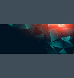 Abstract digital low poly connection banner design vector