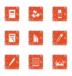 Address book icons set grunge style vector