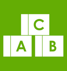 alphabet cubes with letters abc icon green vector image
