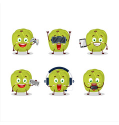 Amla are playing games with various cute emoticons vector