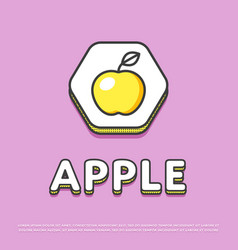 apple colour icon in line design vector image